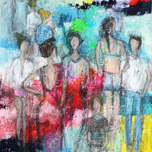 Gemälde Strandspaziergang, Menschen am Strand, Sommerfeeling, Strandurlaub, Meer