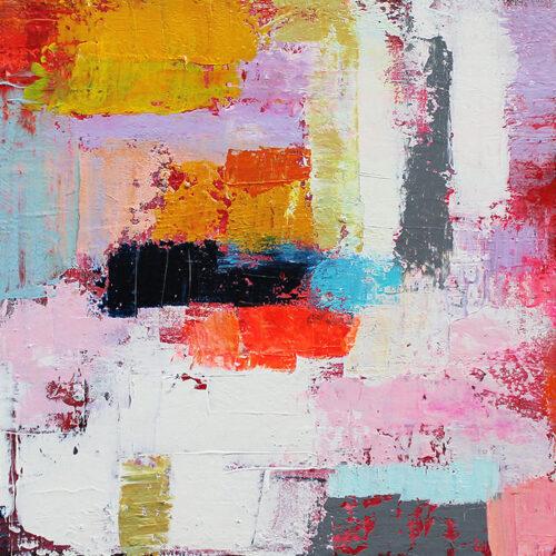 Gemälde Die Welt ist bunt, abstrakte Kunst, Spachteltechnik, Karin Greife, Originalgemälde, Kunstdruck,