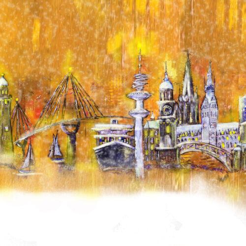 Gemälde Festliches Hamburg, Kräne, Michel, Köhlbrandbrücke, Aida, Dampfer, Fernsehturm, Rathaus, Elbphilharmonie, Weihnachten, Tannenbäume, Schnee, Tannenbaumkugeln