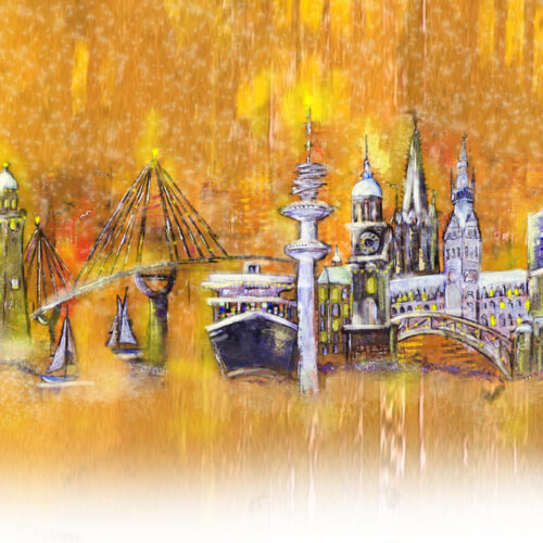 Gemälde Lichterglanz in Hamburg zu Weihnachten, Hamburger Hafen, Kräne, Michel, Köhlbrandbrücke, Aida, Dampfer, Fernsehturm, Rathaus, Elbphilharmonie, Weihnachten, Tannenbäume, Schnee