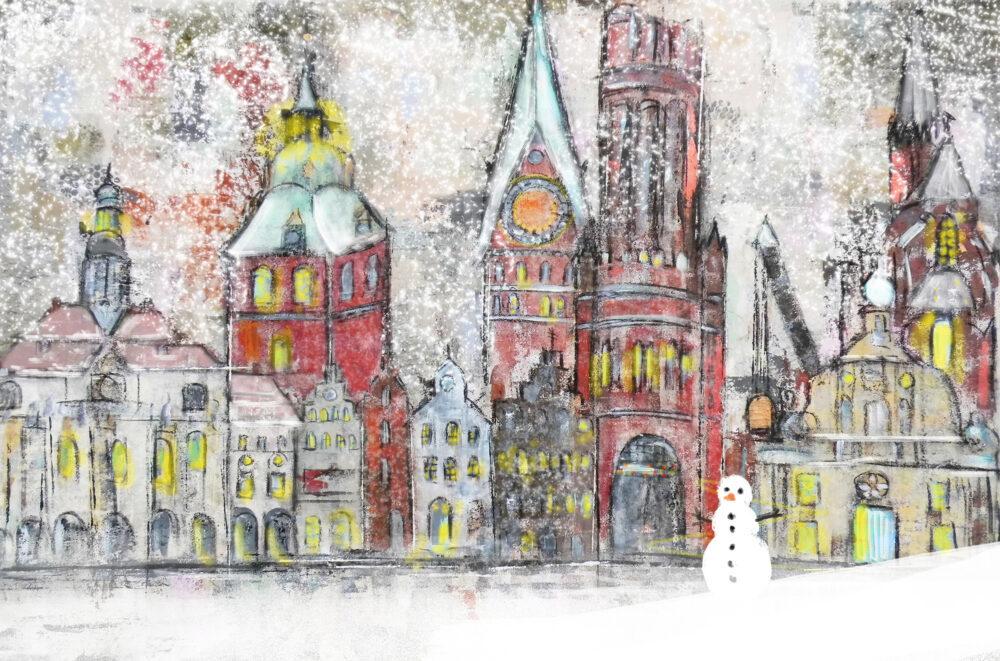 Gemälde Schneegestöber in Lüneburg I, Schnee, Schneemann, Lüneburger Rathaus, Hansegiebel, St. Michaeliskriche, Lüneburger Weihnachtskarte, Lüneburg-Motiv, Wasserturm, St. Johanniskirche, Altes Kaufhaus, Schnee, Weihnachten, Weihnachtsmarkt, Schneesturm