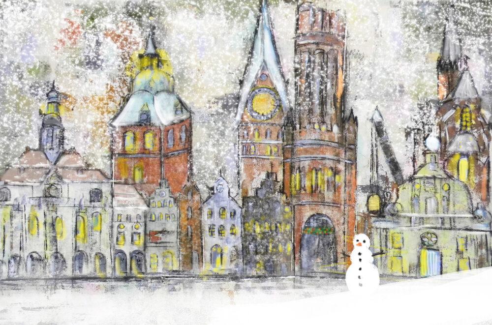 Gemälde Schneegestöber in Lüneburg II, Schnee, Schneemann, Lüneburger Rathaus, Hansegiebel, St. Michaeliskriche, Lüneburger Weihnachtskarte, Lüneburg-Motiv, Wasserturm, St. Johanniskirche, Altes Kaufhaus, Schnee, Weihnachten, Weihnachtsmarkt, Schneesturm