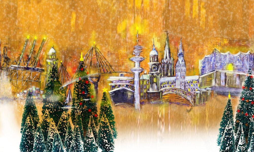 Gemälde Skyline Hamburg zu Weihnachten, Kräne, Michel, Köhlbrandbrücke, Aida, Dampfer, Fernsehturm, Rathaus, Elbphilharmonie, Weihnachten, Tannenbäume, Schnee, festliches Hamburg