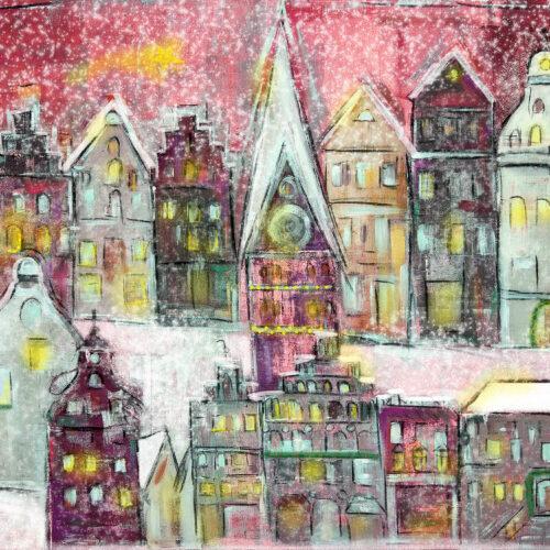 Gemälde Weihnachtslichter in Lüneburg Am Sande I, Am Sande, Weihnachtsmarkt Lüneburg, Schnee, Landeszeitung, St. Johanniskirche, Weihnachtskarten mit Lüneburg-Motiv, Sternenglanz