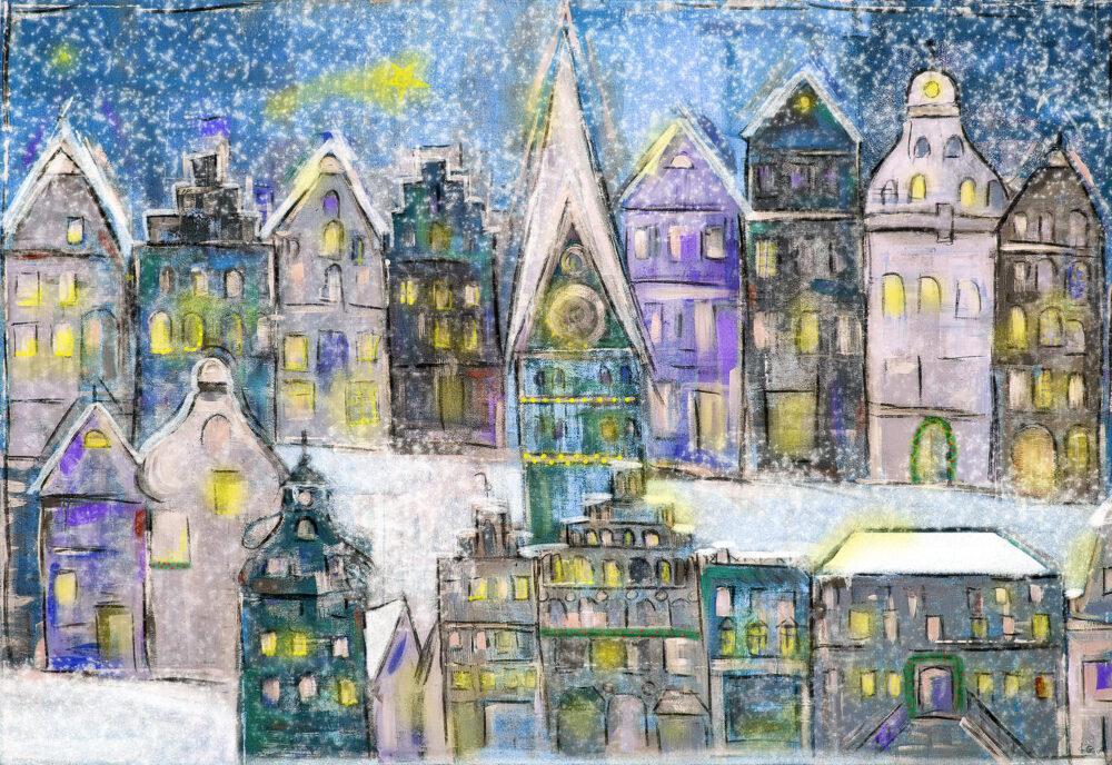 Gemälde Weihnachtslichter in Lüneburg Am Sande II, Am Sande, Weihnachtsmarkt Lüneburg, Schnee, Landeszeitung, St. Johanniskirche, Weihnachtskarten mit Lüneburg-Motiv, Sternenglanz
