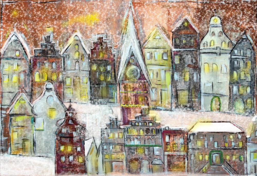 Gemälde Weihnachtslichter in Lüneburg Am Sande III, Am Sande, Weihnachtsmarkt Lüneburg, Schnee, Landeszeitung, St. Johanniskirche, Weihnachtskarten mit Lüneburg-Motiv, Sternenglanz
