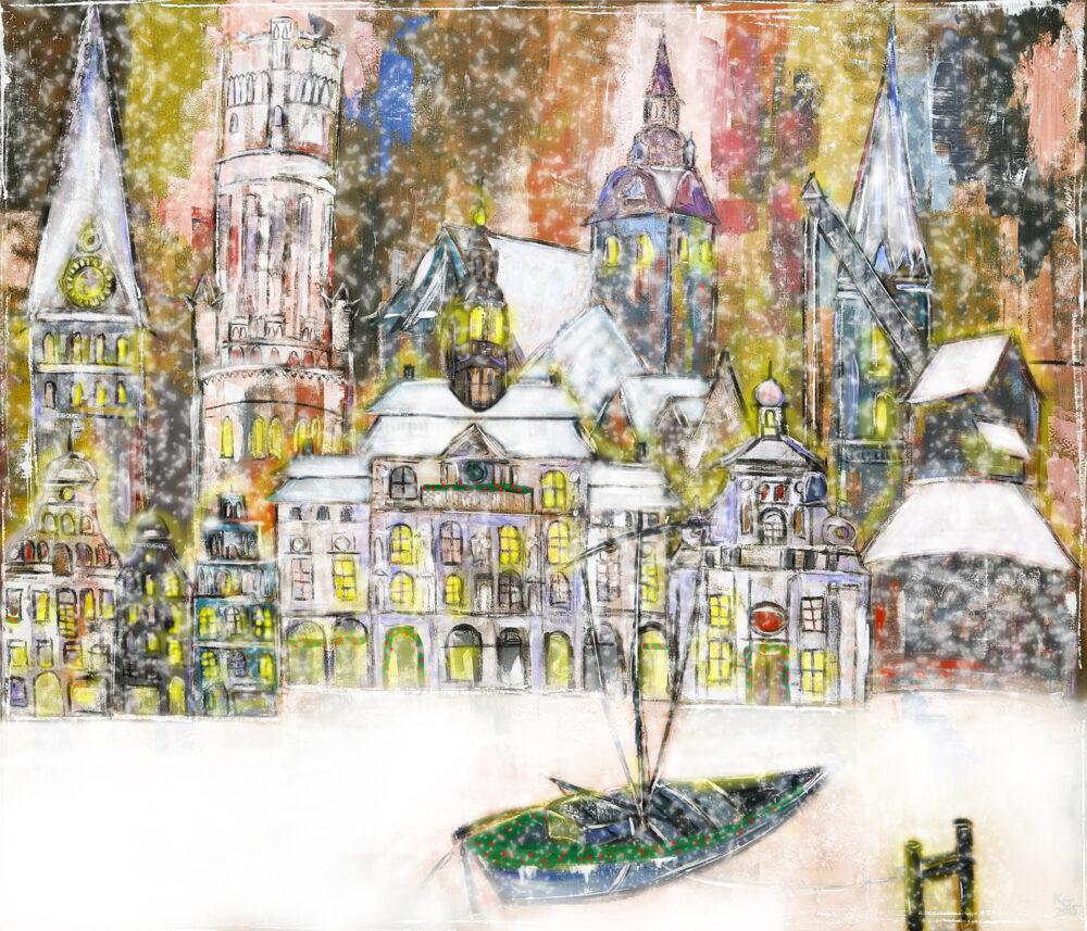 Gemälde Weihnachtliche Hansegiebel Lüneburg, St.Johanniskriche, Wasserturm Lüneburg, Rathaus, St. Michaeliskirche, Altes Kaufhaus, Alter Krank, Ewer, St. Nicolaikirche, Alter Kran Lüneburg, Schnee, Weihnachten, Lichterglanz