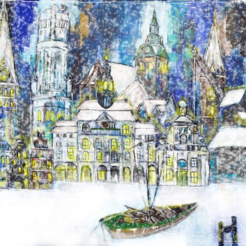 Gemälde Weihnachtliche Hansestadt Lüneburg,