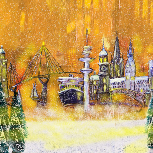 Gemälde Weihnachtliches Hamburg, Kräne, Michel, Köhlbrandbrücke, Aida, Dampfer, Fernsehturm, Rathaus, Elbphilharmonie, Weihnachten, Tannenbäume, Schnee, Hamburg schneit, Lichterglanz, Tannen, Weihnachtsbäume