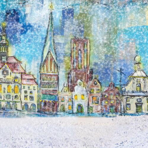 Gemälde Winter Weihnachten in der Hansestadt Lüneburg, Rathaus Lüneburg, St. Nicolaikirche Lüneburg, Wasserturm, Hansegiebel, Altes Kaufhaus, Alter Kran, Schnee, Gemälde, Tannenbäume