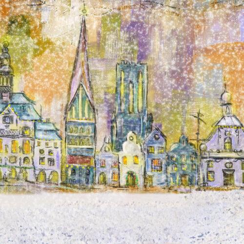 Gemälde Winter Weihnacht in Lüneburg, Hansestadt im Schneegestöber, Weihnachten in Lüneburg, Gemälde, Weihnachtsbäume, Tannenbäume
