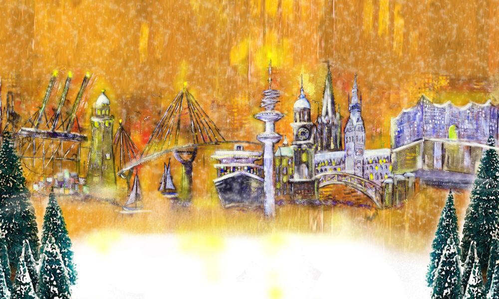 Gemälde Winter Weihnachtszeit in Hamburg, Kräne, Michel, Köhlbrandbrücke, Aida, Dampfer, Fernsehturm, Rathaus, Elbphilharmonie, Weihnachten, Tannenbäume, Schnee, Tannen, Segelboote