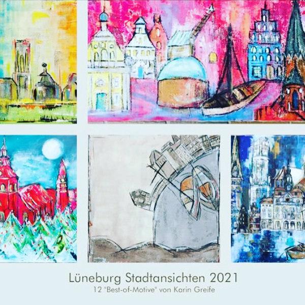 A3-Wandkalender im Hochformat mit 12 neuen Lüneburg-Motiven von Karin Greife