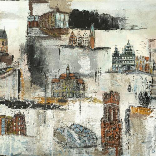 Gemälde Salzstadt Lüneburg (weiß)