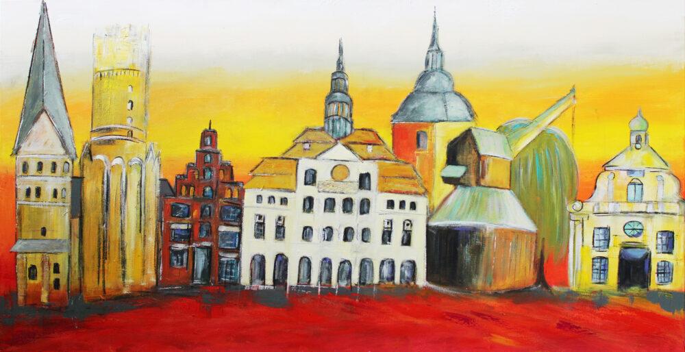 Gemälde Lüneburg am Abend