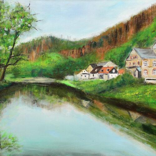 Gemälde Treseburg - Thale - Bodetal - Ostharz /Sachsen-Anhalt - Flusslandschaft