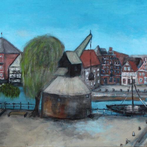 Gemälde Wasserviertel-lLüneburg-Panoramablick mit Alter Kran und Weide